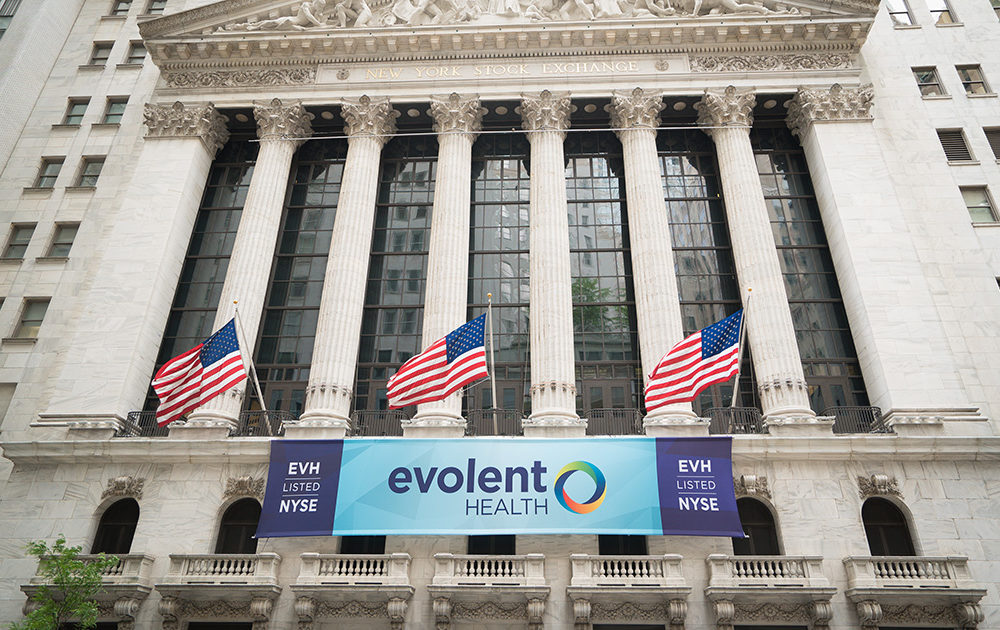 Evolent banner on the New York Stock Exchange